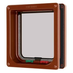 Cat Mate 4 Way Locking Cat Flap with Door Liner Brown