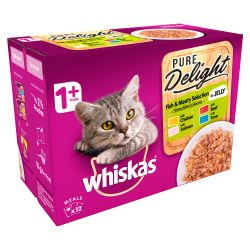 Whiskas 1+ Cat Pouches Pure Delight Fishy&Meaty Selection 12x85g pack