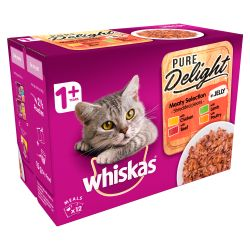 Whiskas 1+ Cat Pouches Pure Delight Meaty Selection in Jelly 12x85g pack