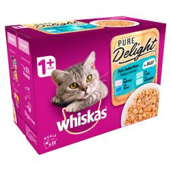 Whiskas 1+ Cat Pouches Pure Delight Fish Selection in Jelly 12x85g pack