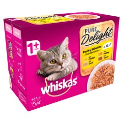 Whiskas 1+ Cat Pouches Pure Delight Poultry Selection in Jelly 12x85g pack