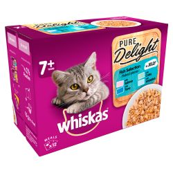 Whiskas 7+ Cat Pouches Pure Delight Fish Selection in Jelly 12x85g pack