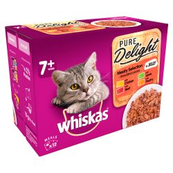 Whiskas 7+ Cat Pouches Pure Delight Meaty Selection in Jelly 12x85g pack