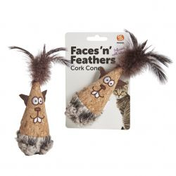 Faces 'n' Feathers Cork Cone Cat Toy