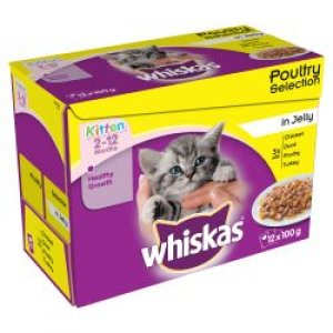 Whiskas Pouch Kitten Poultry Chunks in Jelly 12 Pack